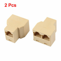 2pcs Beige Modular Inline Coupler Connector Telephone Adapter Ships Fast  NY USA - $5.93