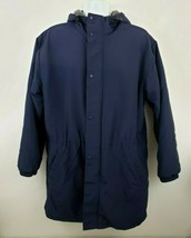 Vtg J.Crew Long Blue Fleece Lined Nylon Coat Jacket Size L Men's USA wit... - $59.39