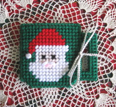 Plastic Canvas Needlepoint Gift Card/Money Holder - Santa Coffee/Tea Mug  - $3.59
