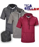 Mens Terry Extended Casual Distressed Hoody Shirt Zipper Elongated Short... - $29.95
