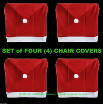 SET-4-Christmas Holiday Party RED SANTA HAT CAP CHAIR COVERS Kitchen Dec... - $9.87