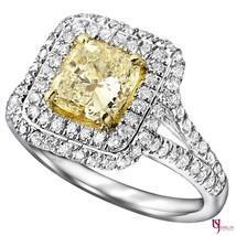 Cushion Cut Diamond Engagement Ring 2.36ct Natural Light Yellow 18k Split Band - $5,364.81