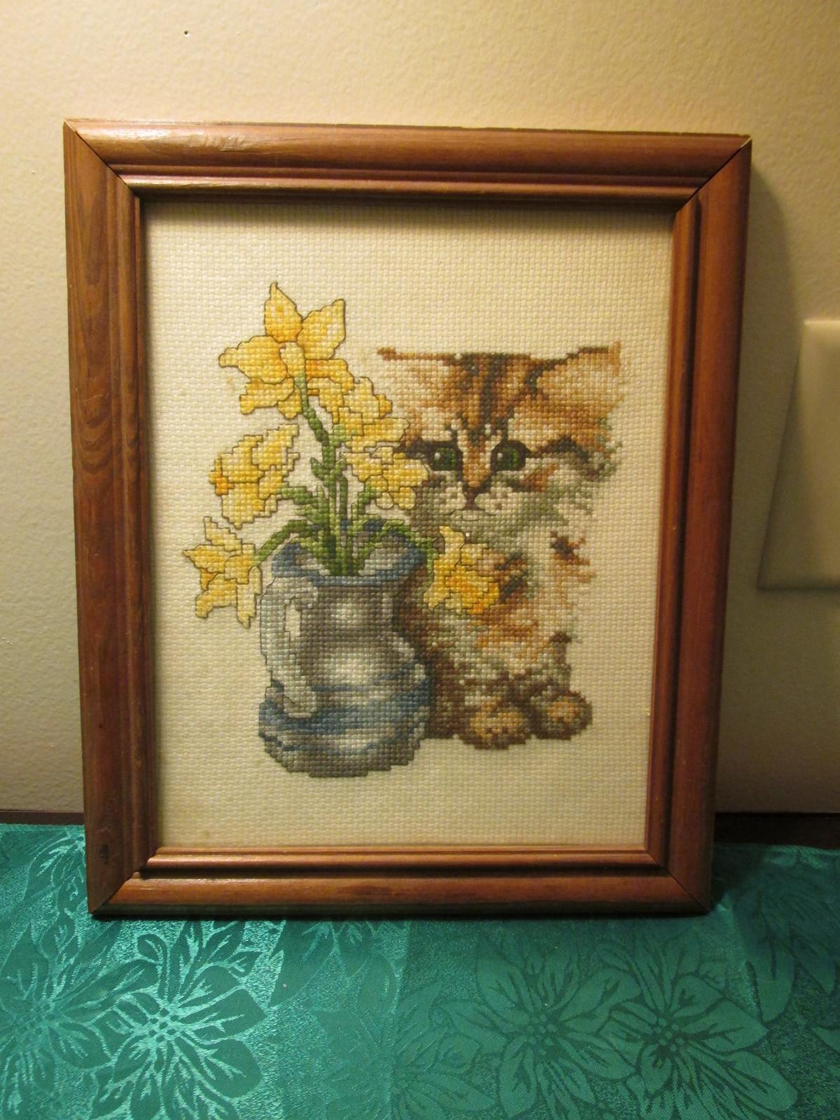 Framed Cross Stitch Kitten Picture