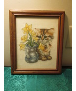 Framed Cross Stitch Kitten Picture - $12.99