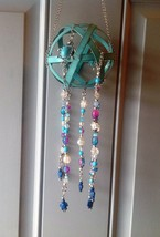 Turtle Mobile/Turquoise Metal Sphere Mobile/Glass Beaded Mobile - £16.57 GBP+