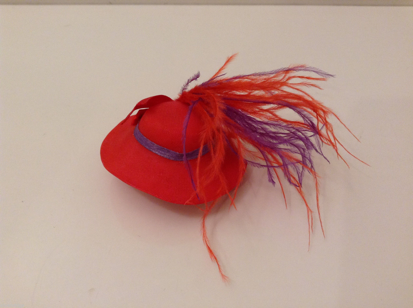 Red Hat Society Handmade Accessory Hat Brooch Pin with real feathers