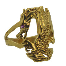 24K Gold Plated Baby Dragon Wrapped / grabbing your finger Ring Jewelry ... - $26.57