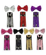 Unisex Clip-on Sequin Suspender & Bow tie Sets 7 Colors - $6.99
