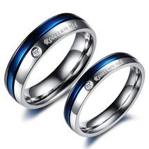 2Pcs Blue & Silver Titanium stainless Steel Couple Promise Engagement Ri... - $364,62 MXN