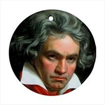 Ludwig Van Beethoven Round Ornament w/ Ribbon Hanger - $7.37