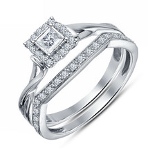 14K White Gold FN 1.30 Ct Halo Diamond Engagement Ring Wedding Band Brid... - $103.49