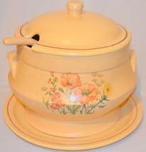 Ceramic Soup Tureen Ladle Plate Flowers - $64.35