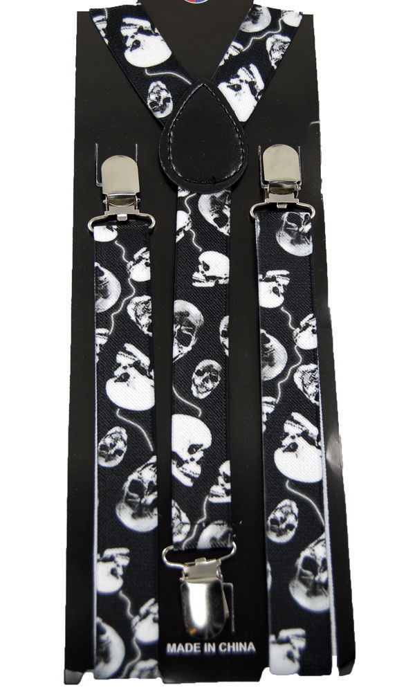 "Primary image for Unisex Clip-on Braces Elastic New ""Skull"" Suspender Y-Back Suspender"
