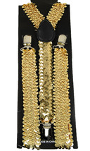 "Unisex Clip-on Braces Elastic Suspender ""Gold Sequin"" Y- back Suspender - $3.95"