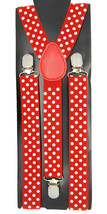 "Mens Unisex Clip-on Braces Elastic Red ""Polka Dot"" Y Back Adjustable Sus... - $6.92"