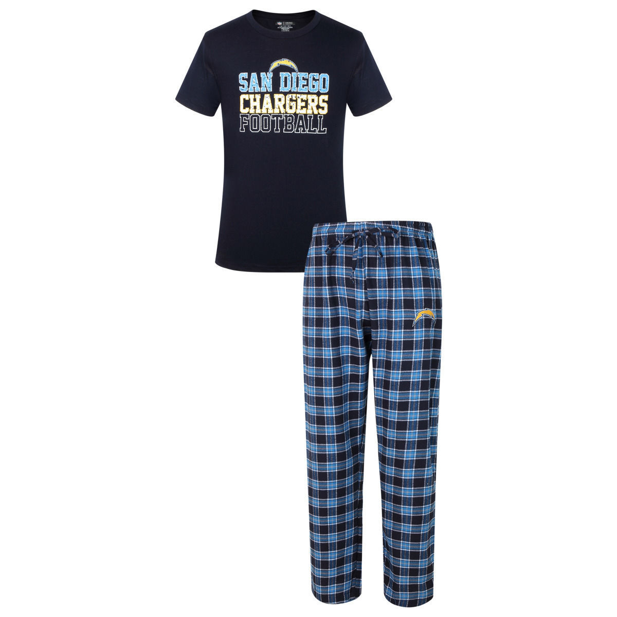 2XL San Diego Chargers Men's Medalist Pajamas NFL Sleep Set Shirt Plaid Pants