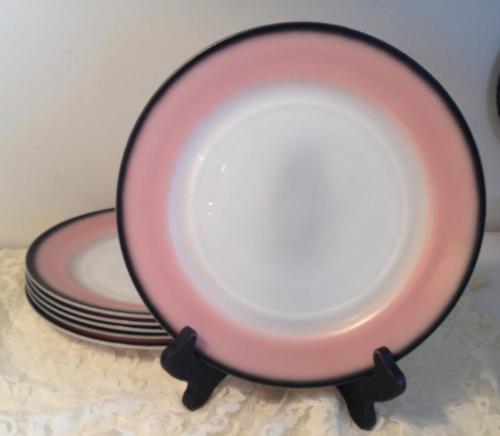 "Hazel Atlas Informal Pink Charcoal Black Dinner Plate 8 7/8"" Ovide Mid Century"