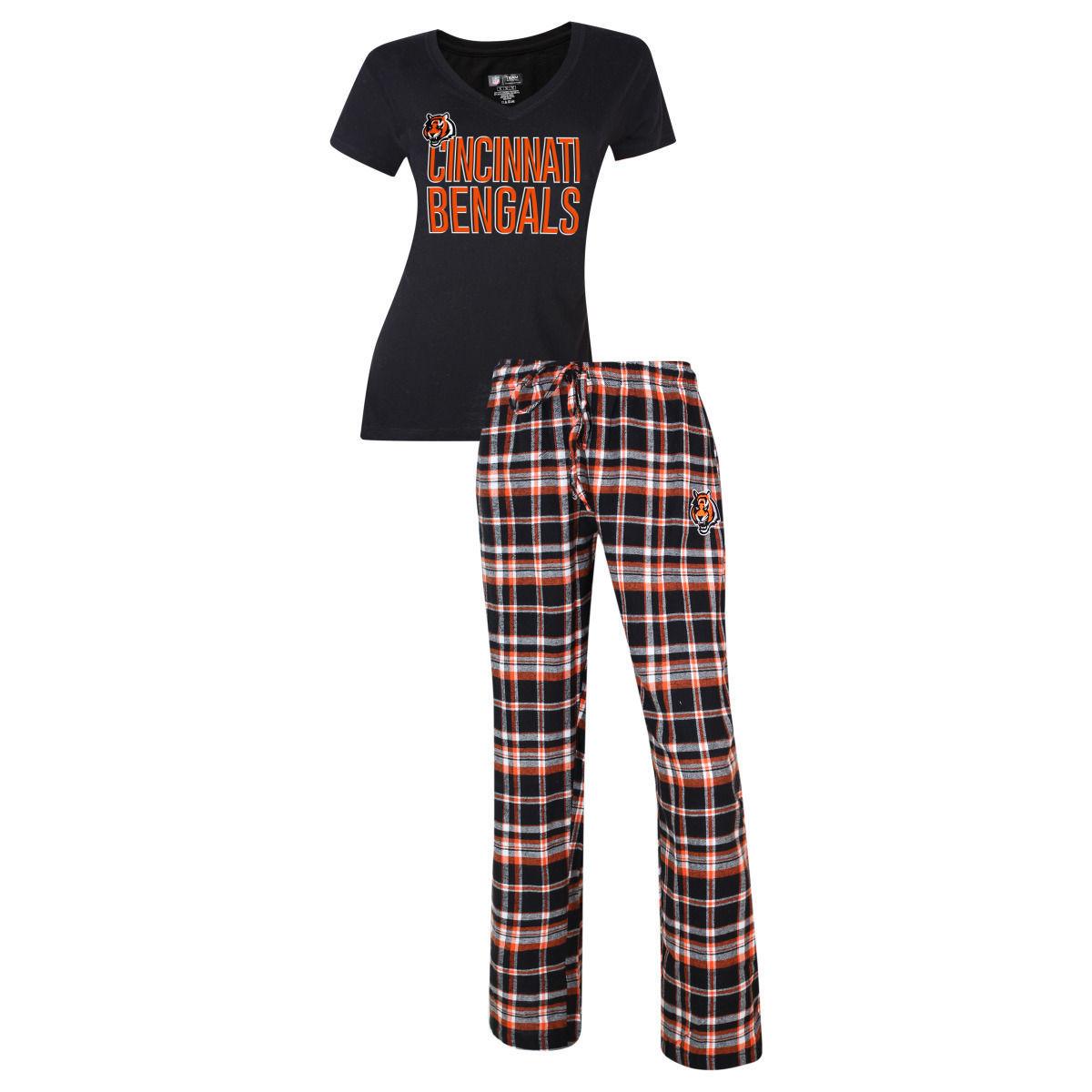Cincinnati Bengals Women's Pajamas Tiebreaker NFL Sleep Set Shirt Plaid Pants