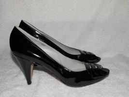 Nickels Vintage Patent Leather Rockablilly PEEP TOE Pump Heels 8.5AA Used - $49.49