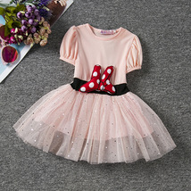 Pink tulle Wedding Flower Girl Dresses Caped Sleeve  Pageant Party Gowns Pricess image 6