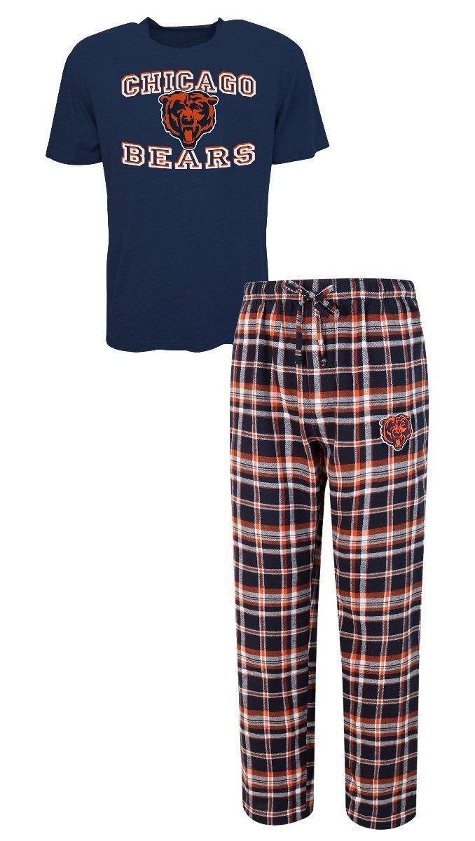 Chicago Bears Men's Pajamas Tiebreaker NFL Sleep 2-piece Set Shirt Plaid Pants