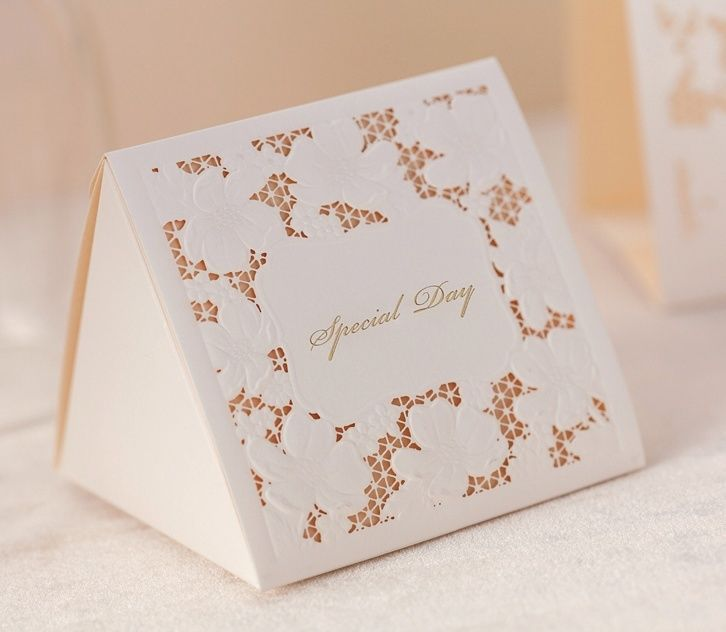 White laser cut hollow wedding favor candy boxes CB1101, matching CW1101