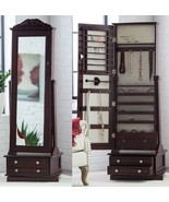 Wooden Jewelry Armoire In Swivel Cheval Full Length Floor Mirror With 2 ... - $429.88