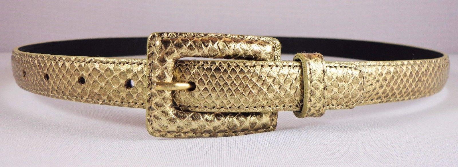 Ellen Tracy Linda Allard Genuine Leather Gold Animal Print Belt Womens Size 10