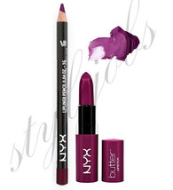 NYX Butter Lipstick HUNK BLS05 and Slim Lip Liner Purple Rian SET - $7.56