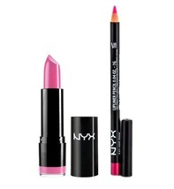 NYX Round Lipstick HOT PINK 571A and Slim Lip Liner 845 set - $5.88