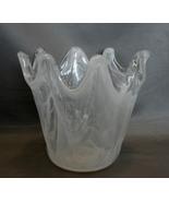 Murano Handblown Art Glass Vase in Smoky White Swirl - $22.99