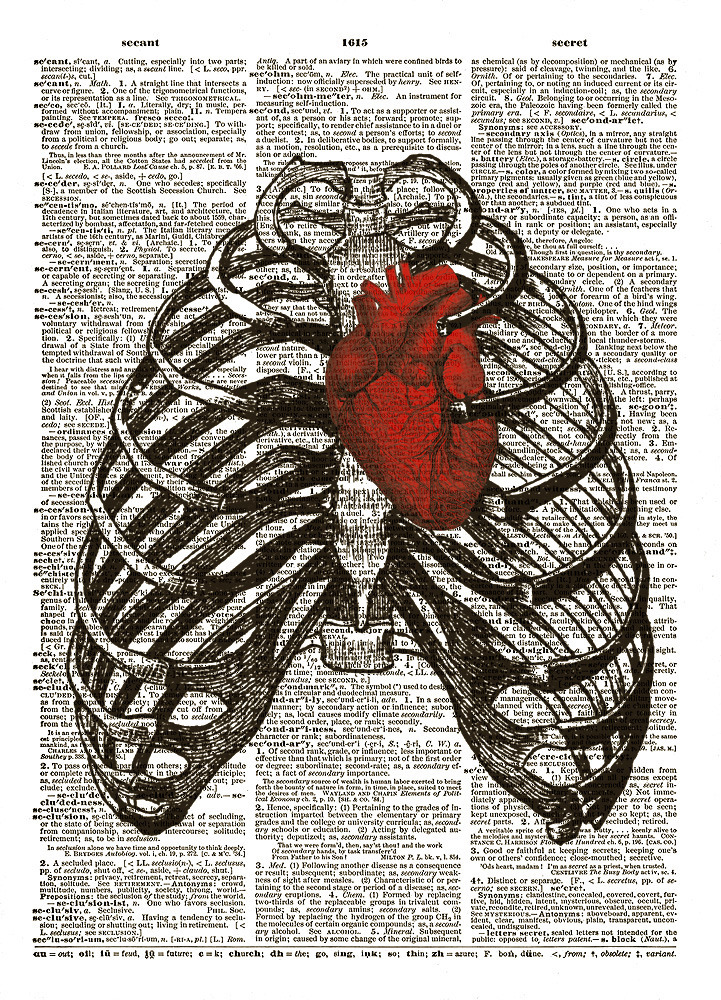 RED HEART in Human Thorax Diagram Upcycled Vintage Dictionary Art Print No. 0010