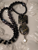 Glass Beaded Necklace ~ Black & Multi Swirls ~ ... - $24.00