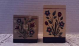 Vintage Hand Crafted Wood Hand Painted Floral Design Candle Holders Cottage Chic - $14.00