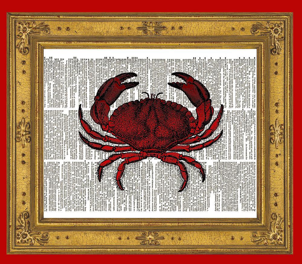 Red CRAB Beach Ocean Animal Vintage Dictionary Art Print No. 0011