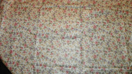 Cream Pink Purple Flower Cotton Print Upholstery Fabric Remnant  F397 - $29.95