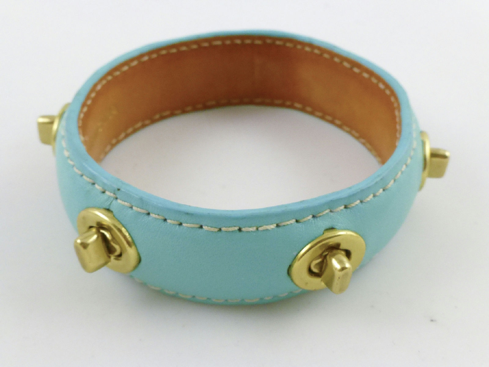COACH Leather Turnlock Bangle BRACELET - AQUA BLUE - FREE SHIPPING