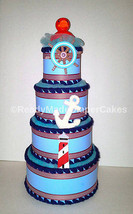 Blue Red and White Ducky Nautical Themed Baby Shower 4 Tier Diaper Cake ... - $70.00