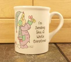 Precious Moments White Christmas Holiday Coffee Mug Tea Cup Vintage 1995 Enesco - $7.87