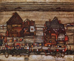 100% Hand Painted Oil on Canvas - Houses with laundry lines and suburban... - $226.71