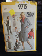 Simplicity 9715 Shirt, Slim Skirt, Pants & Unlined Jacket Pattern - Size 14 - $6.24