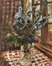 100% Hand Painted Oil on Canvas - Larkspur by Lovis Corinth - 20x24 Inch - $226.71
