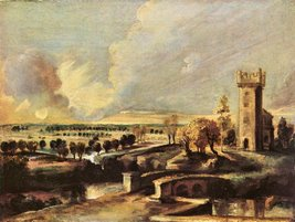 100% Hand Painted Oil on Canvas - Landscape with the tower of the castle... - $226.71