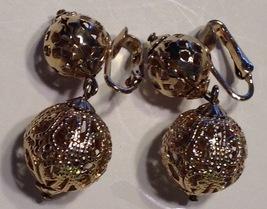 Vintage 1960's MOD Era Clip Earrings Dangling Coro Gold Tone Ornate Balls - $18.41