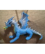 Blue Dragon Figure Charm Necklace Fantasy Gift Cool Novelty Jewelry - $6.85