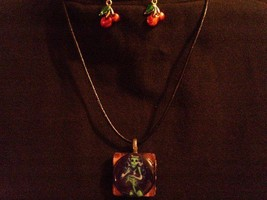 Zombie Skeleton Horror Necklace Earrings Set Jewelry Halloween Psychobilly Gift - $8.81