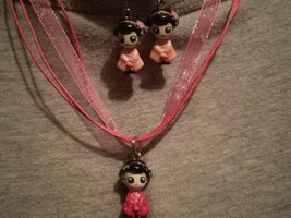 Geisha Girls Charm Figure Necklace Earrings Set Novelty Japanese Kawaii  Jewelry - $7.83