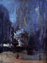 100% Hand Painted Oil on Canvas - Night in Black and Gold, The falling Rocket... - $226.71