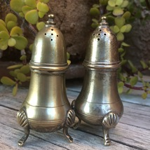 Vintage Brass Salt and Pepper Shakers Tri-Footed Made in India 4 Inches ... - $24.95