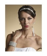 Bridal Ribbon Headband with Crystals or Wedding Belt with Ribbon White S... - $33.86
